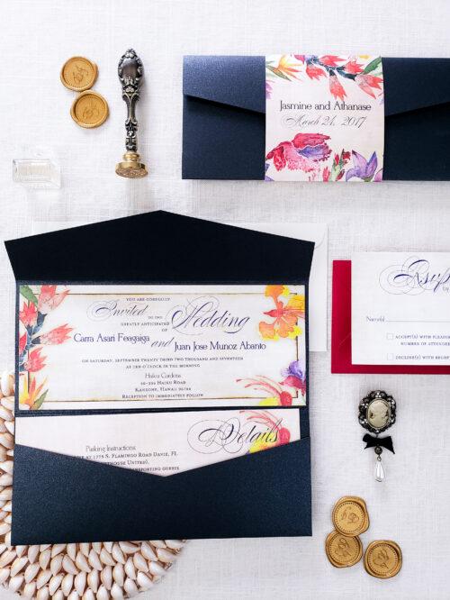 tropical wedding card