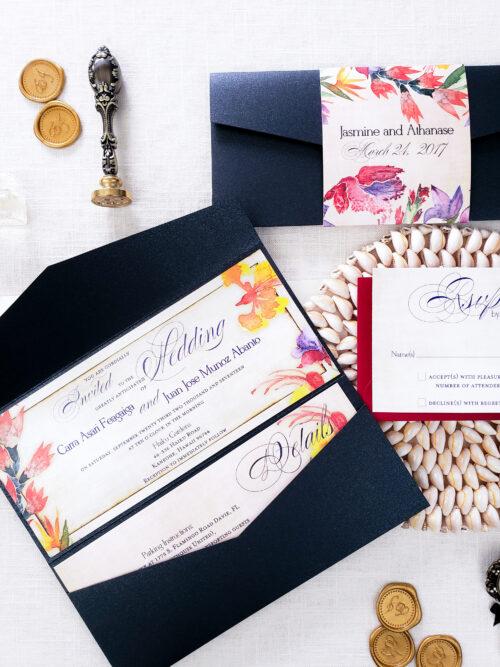 black tropical wedding invite