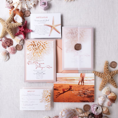 vellum destination wedding invitation suite