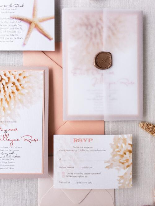 beach vellum wedding invitations