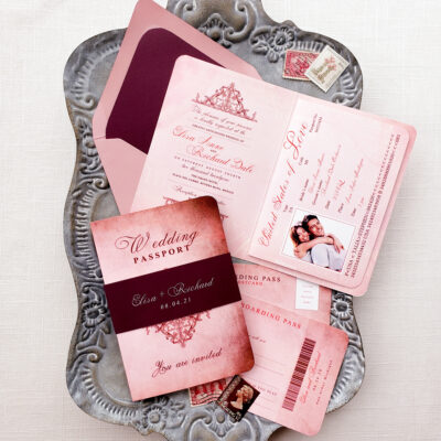 burgundy passport wedding invitations
