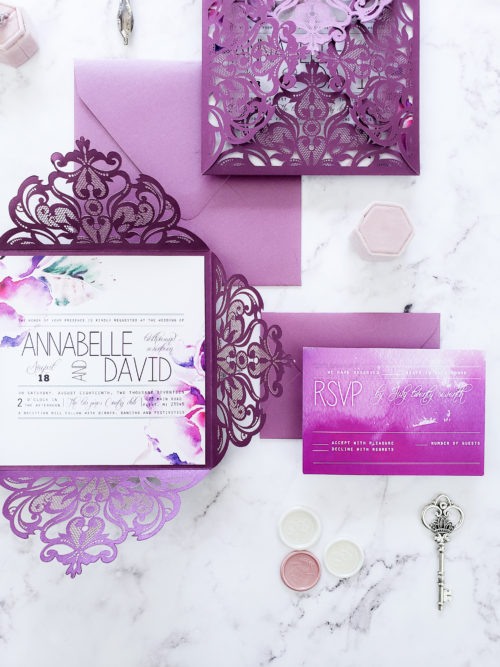 purple laser cut wedding invitation