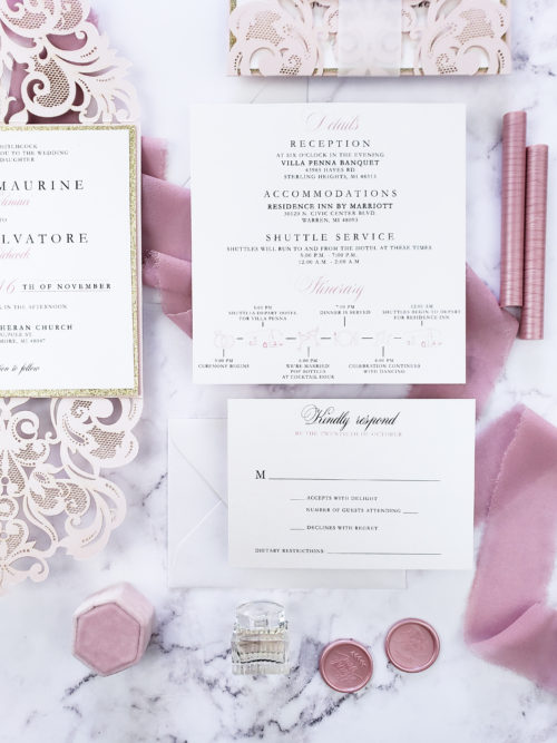 blush gold invitation laser cut