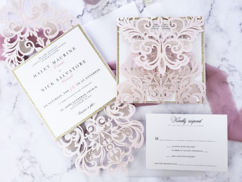 blush laser cut wedding card