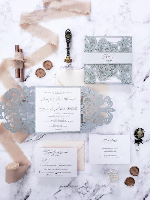 silver wedding invitation laser cut