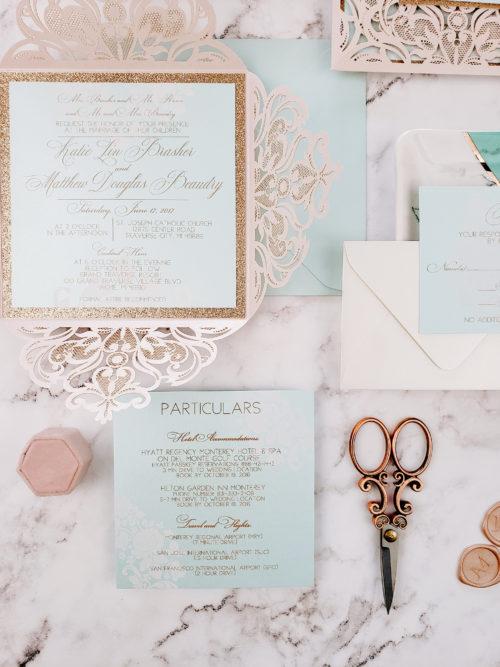 blush lace invitation cards