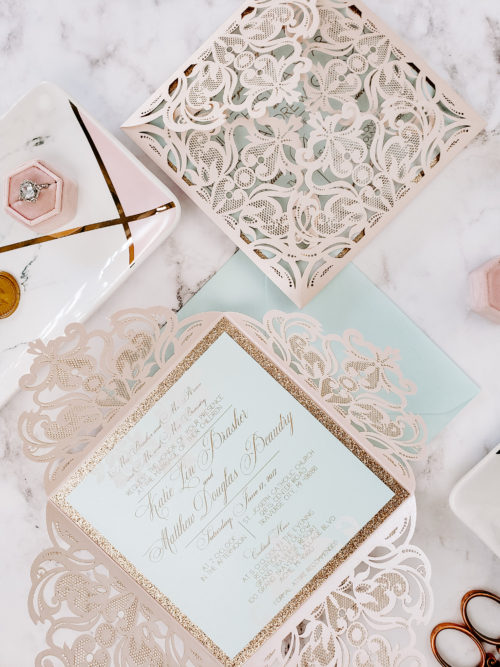 blush gold wedding invitation laser cut