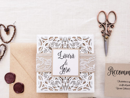 rustic lasercut invitation