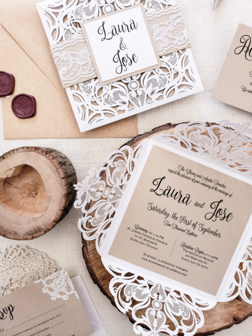 rustic kraft wedding invitation