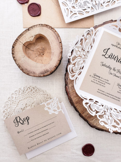 rustic laser cut invitation