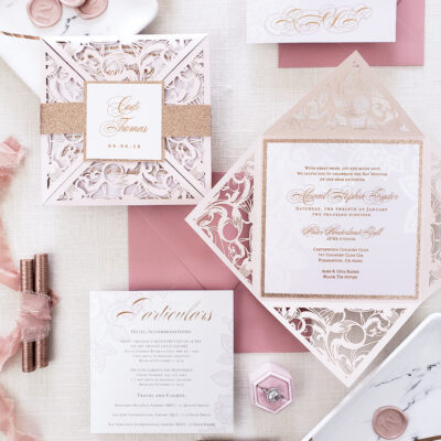 gold laser cut invites