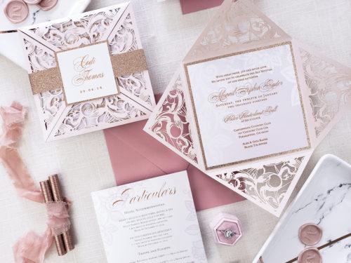 elegant laser cut wedding card