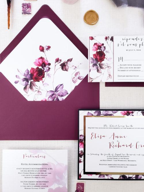 burgundy invitation suite