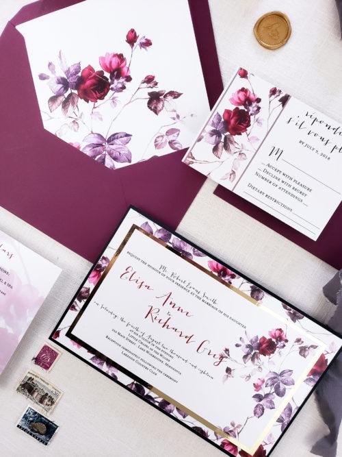 burgundy wedding invites