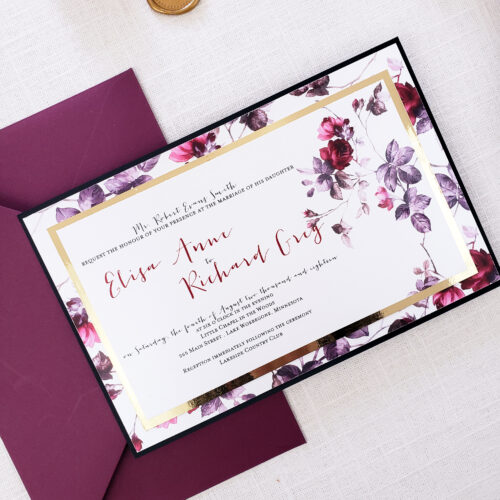 burgundy moody wedding card