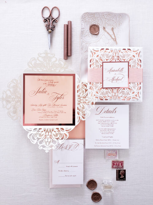 elegant laser cut wedding invitation suite