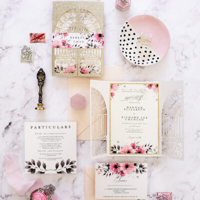 Fairytale wedding invitations, Secret garden wedding invites, laser cut glitter wedding invitation suite floral, gold blush laser cut princess