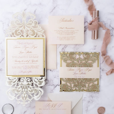 gold glitter elegant wedding invitations laser cut, laser cut invitation card, romantic wedding invitation suite blush gold