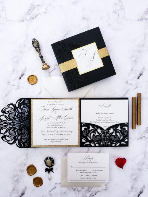 Invitations wedding elegant, wedding invitation elegant, black gold wedding invitations laser cut, elegant laser cut invites