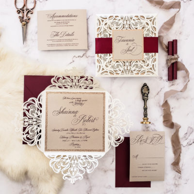 classic elegant laser cut wedding invites, elegant invitations for wedding, burgundy wedding invitations elegant