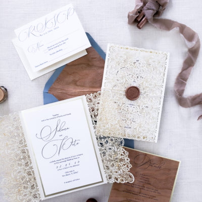 lace laser cut wedding invitations, wedding invitation suite with chantilly lace laser cut wrap and wood paper accent
