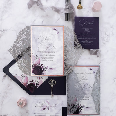Floral laser cut wedding invitation wrap, laser cut wedding invites sample suite with floral accent, purple and silver