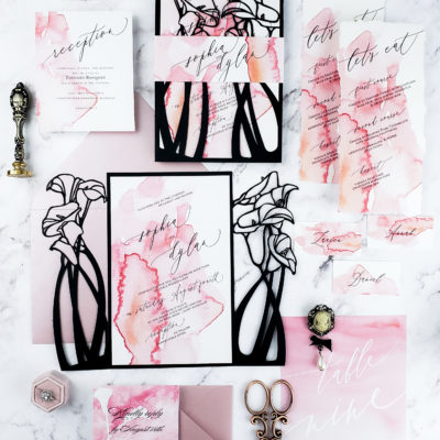 calla lilly wedding invitation suite with black laser cut wedding invitation wrap and blush watercolor calla lilly floral