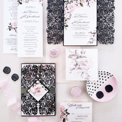black laser cut wedding invites, laser cut wedding invitation suite with blush floral, botanical spring wedding invitation suite