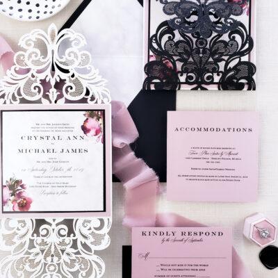black glitter laser cut wedding invitation, moody blush and black wedding invitation laser cut sample, laser cut invites