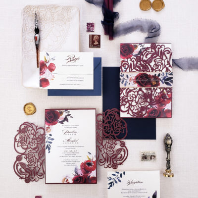 Burgundy wedding invitation laser cut, burgundy roses laser cut wedding invitation suite with burgundy floral