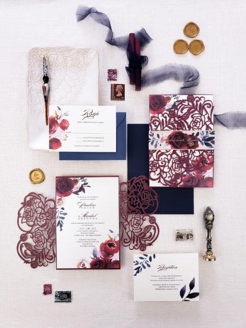 Burgundy wedding invitation laser cut, burgundy roses laser cut wedding invitation suite with burgundy floral