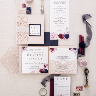 burgundy and navy laser cut wedding invitations pocket folder, blush laser cut pocket fold with navy and burgundy flowers