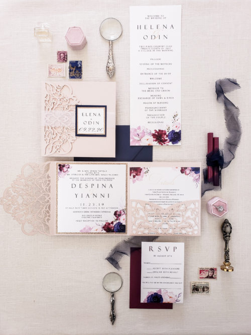 burgundy and navy laser cut wedding invitations pocket folder, blush laser cut pocket fold with navy and burgundy flowers