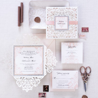 Romantic elegant laser cut wedding invites, elegant wedding invitation lasercut with ivory laser cut wrap