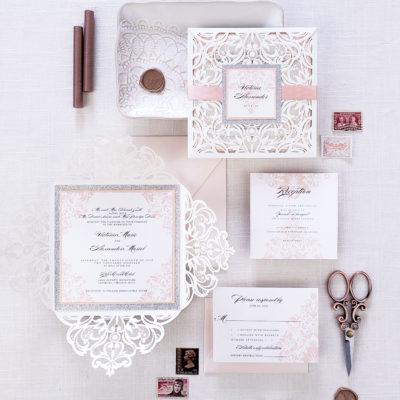 Romantic elegant laser cut wedding invites, elegant wedding invitation lasercut with ivory laser cut wrap