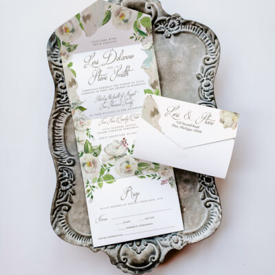 All in one wedding invitations, invites for wedding seal and send, floral greenery wedding invitation all in one