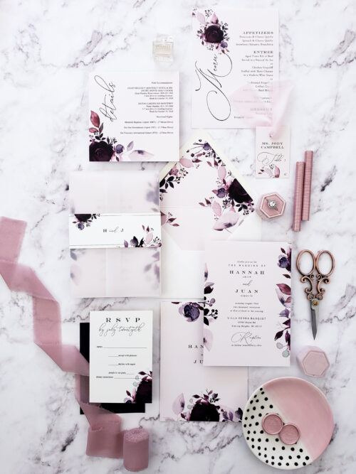 blush vellum wedding invitations