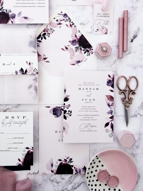 ;purple vellum wedding invitations