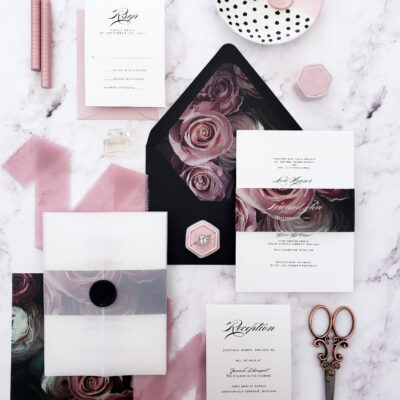 vellum wedding invitation suite