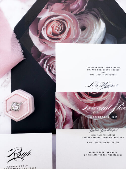 vellum moody wedding invitation
