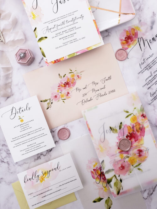 colorful vellum wedding invitations