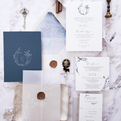 dusty blue vellum wedding invitation suite