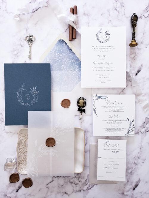dusty blue vellum wedding invitation suite