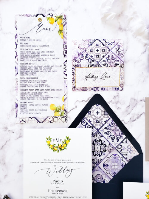 mediterranean vellum wedding invitation