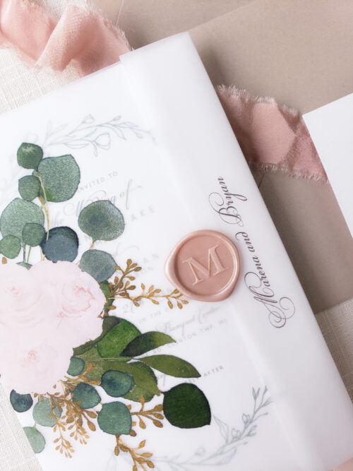 floral vellum wedding invitations