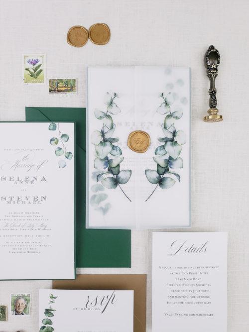 greenery vellum wedding invitations