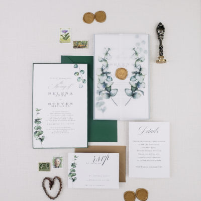 vellum greenery wedding invitation suite