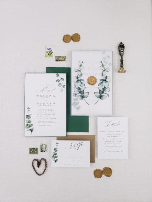 vellum greenery wedding invitation suite