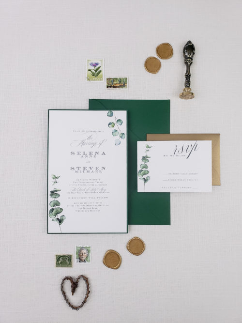 gold and green wedding invitation