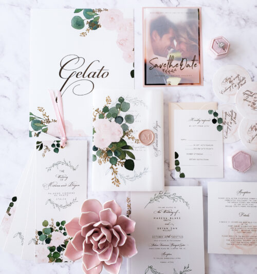 vellum wrap wedding invitation suite